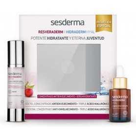 Pack Sesderma Resveraderm Antiox Concentrado Antienvejecimiento 50 ML + Hidraderm Hyal Serum Liposomado 30 ML