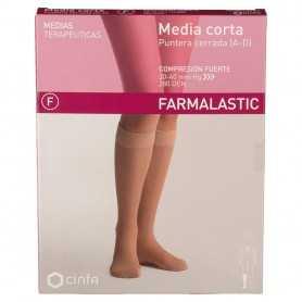 Farmalastic Media Corta Compresión Fuerte Cerrada Beige Mediana