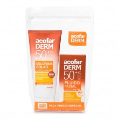 Pack Acofarderm Gel Crema Solar SPF50+ 200 ML + Fluido Facial 50 ML