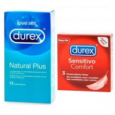 Pack Durex Con Natural Plus 12u+Sens 3u