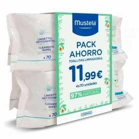 Pack Mustela Cambio De Pañal Toallitas Dermosuavizantes 4X70 U