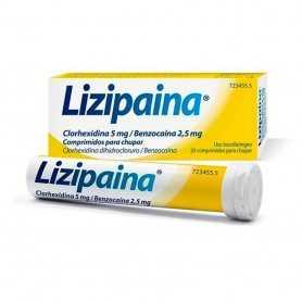 Lizipaina Clorhexidina/Benzocaina 5/2.5 MG 20 Comprimidos